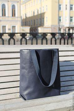 Купить черная кожаная сумка шоппер мешок пакет женская сумка - тёмно-синий, сумка