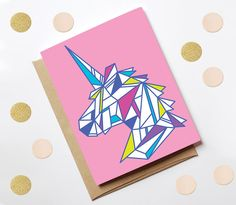 This bright & colourful card is the perfect for your unicorn loving friend - or to keep & put on your wall! A cute & quirky greetings card left
