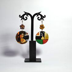 #orecchini dipinti a mano#orecchini dipinti#bijoux dipinti#accessori dipinti#orecchini in legno#dipinti famosi#jeanne hebouterne di modigliani amedeo#http://hanulstyle.com/prodotto/or67/