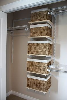 Baskets on shelves: ideas: one for flip flops, one for scarves, one for belts, etc... and add a pretty label with a ribbon.