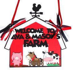 Items similar to Farm Party Door Sign Personalized Hanging Birthday Party Decoration with Pig Cow and Horse on Etsy Farm Party Decorations, Personalized Signs, Door Signs, Doors, Christmas Ornaments, Holiday Decor, Handmade Gifts, Etsy, Vintage