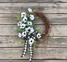 Faux Flowers, Love Flowers, Spring Wreaths, Christmas Wreaths, Etsy Handmade, Handmade Art, White Anemone, Spooky Halloween Decorations, Twig Wreath