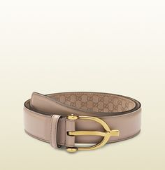 light pink leather belt with spur buckle