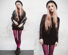 Jenn Potter - Made By Me Macrame Dress, Apogeo Gradient Tights - Cold Light   LOOKBOOK