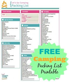 FREE Camping Packing List Printable. Free packing list for camping. #free #freebies #list #camping #packing http://www.frugalcouponliving.com/free-camping-packing-list-printable/