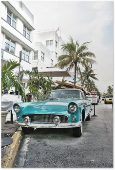 Poster Classic American Car på South Beach, Miami. - Amerika