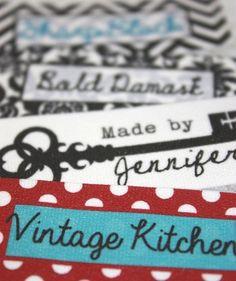 60 Custom Printed Stoff Labels voll waschbar top-Qualität