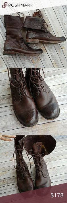 FRYE Owen Tall Brown Lace Up Foldover Combat Boots FRYE Owen Tall Brown Lace Up Foldover Combat Boots.    Size 11 Frye Shoes Boots