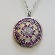 LocketJewelryNecklacePendant Silver LocketPurple by emmalocketshop
