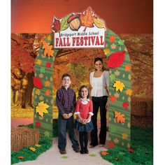 The Personalized Fall Harvest Arch is the perfect addition to any fall party or event. This great fall arch features an autumn leaf sign with your own custom text. The autumn leaf arch is made of cardboard and is 76 inches wide x 104 inches high.