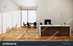 Mock Scene Office Desk Standing Office ภาพประกอบสต็อก 1681796434 Office Desk, Conference Room, Scene, Table, Furniture, Home Decor, Desk Office, Desk, Meeting Rooms