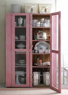 Pink glass cabinets