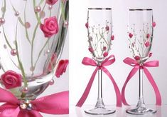 how to decorate champagne glasses for quinceanera - Google Search