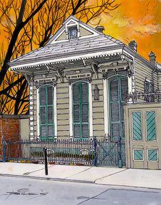 John Boles WATERCOLOR French Quarter House