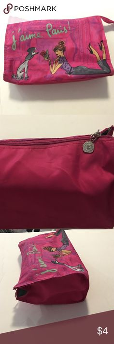 Lancôme cloth cosmetic bag cute picture on front Lancôme cloth cosmetic bag cute picture on front in perfect condition green inferior matches print in French on front girl with poodle picture back plain pink good sized bag. Anthropologie Bags Cosmetic Bags & Cases