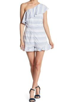 77ebd1c5cd0 BB Dakota Size 4 Romper NWT Womens Blue Striped One-Shoulder Ruffle  Asymmetrical  fashion