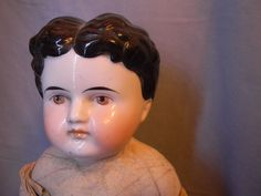 "Male 18"" Brown Eyed China Head Doll w Male Hair Style Exposed Ears as Is 