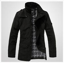 ee0a61c61d2 Black Men s Jacket Trench Coat Blazer Plus Cotton Inside 4 Size M L Xl Xxl  Mens Spring