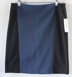 Laundry by Shelli Segal Blue Black Quilted Panel Women's Career Skirt - Size 10…
