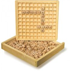 Use this gorgeous wooden box and frame to make up words, learn spelling or play boggle. Creating Words Game comes with 145 wooden letters How To Spell Words, Create Words, Learning Letters, Learning Toys, Scrabble, Boggle Board, Wooden Educational Toys, Tee Set, Made Up Words