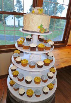 Yellow and Grey Wedding cake/cupcakes