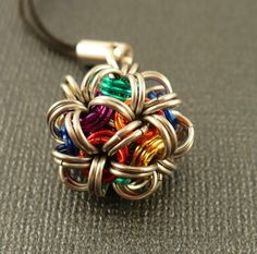 image rainbow sphere cell phone charm chainmaille