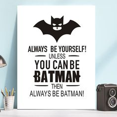 Cartoon Batman Quotes Art Painting on Canvas Motivational Posters and Prints Wall Art Pictures for Living Room Boys Room Decor