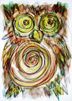 'Hypnotische+Eule'+von+funkyzoo+bei+artflakes.com+als+Poster+oder+Kunstdruck+$16.63
