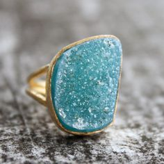 Blue Agate Druzy Ring  Aqua Blue  Adjustable One of a by OhKuol, $40.00