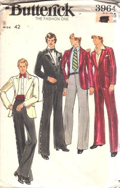 Butterick 3964  1970s Mens Jacket and Pants  Pattern by mbchills