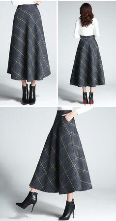 Vintage high waist plaid long skirt women woolen 6colors Plus size 2018  spring new arrivals ddcb7847786f