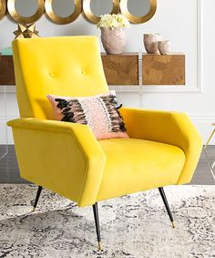 Look at this Yellow Velvet Aida Midcentury Accent Chair on #zulily today!