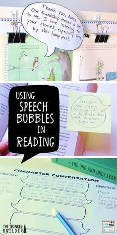 Five ways to use speech bubbles as a tool in your reading instruction. Get students thinking harder that you'd expect. Reading Lessons, Reading Resources, Reading Strategies, Reading Activities, Reading Skills, Teaching Reading, Teaching Ideas, Guided Reading, Reading Groups