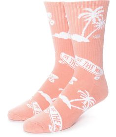 Stylish with a palm tree and Vans Odd The Wall Skateboard Logo graphic throughout, the Vans OTW Palm Tree Pink Crew Socks help bring your style to the forefront. These mid-shin crew length socks have a ribbed upper and an overall pink and white colorway t