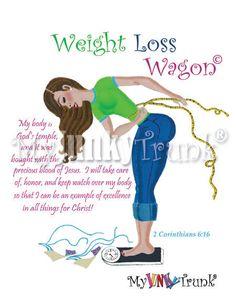 BOGO SALE Weight Loss Wagon Inspirational 8.5x11 by MyJunkyTrunk, $18.00