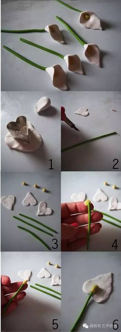 "Make a beautiful polymer clay calla lily necklace You will see how to build it step by step instructions for beginners. You will need polymer clay in white and yellow garnets and to ""set it"" onto your flower. First, you warm the clay with your hands so that you can start to work. Then follow the"