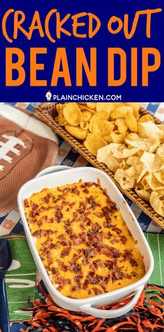Cracked Out Bean Dip - Bean dip loaded with cheddar bacon and ranch. Refried beans, taco seasoning, sour cream, ranch, bacon and cheddar cheese. Taco Appetizers, Appetizer Dips, Appetizers For Party, Appetizer Recipes, Party Dips, Dip Recipes, Mexican Food Recipes, Snack Recipes, Cooking Recipes
