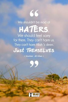 We shouldn't be mad at haters. We should only feel sorry for them. They can't harm us. They can't harm Allah's deen. Islamic Love Quotes, Islamic Inspirational Quotes, Arabic Quotes, Inspiring Quotes, Nouman Ali Khan Quotes, Allah Loves You, Almighty Allah, Walk By Faith, Holy Quran