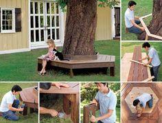 Ako zhotoviť lavičku okolo stromu