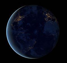 Terra vista do espaço durante a noite