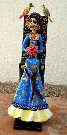 Frida Kahlo Catrina en AZUL by Helena Nares