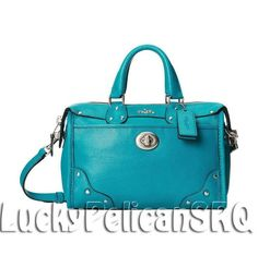 COACH 33690  RHYDER 24 MINI SATCHEL CROSSBODY LEATHER Dark Nickel/Teal Blue NWT #Coach #Satchel