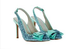 Glittery blue wedding shoes. Click on the image to see our full gallery of Best Blue Wedding Shoes.