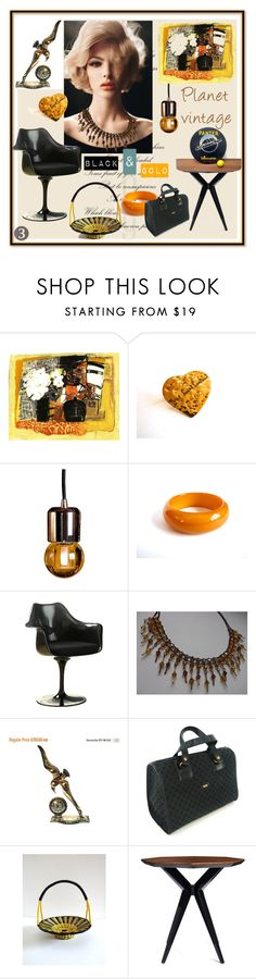 """Planet Vintage : Black and Gold"" by sylvia-simon ❤ liked on Polyvore featuring interior, interiors, interior design, home, home decor, interior decorating, Yves Saint Laurent, Rove Concepts, Pierre Cardin and Kate Spade"