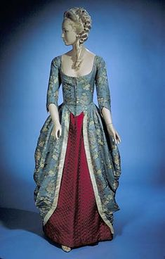 Blue silk woven dress polonaise style 1770-1785