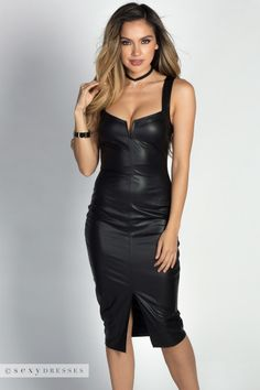 """Andrina"" Black Faux Leather Wet Look Bodycon Midi Dress"