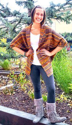 3bead8cb531 a cute look with minnetonka moccasin boots! fun sweater