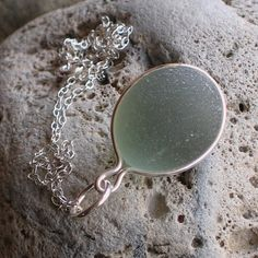 Natural Sea Glass Sterling Silver Pendant Necklace Soft Green (505)