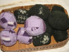 EZ dryer balls from old wool clothes. Allyou need is the wool item, washer, scissors , a needle and thread to stitch the wool balls so they won;t come apart. Homemade Cleaning Products, Natural Cleaning Products, Recycled Sweaters, Wool Sweaters, Felted Wool, Wool Felt, Diy Soap Pouches, Old Sweater Diy, Beef Tallow