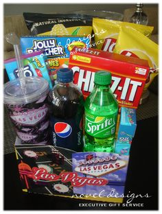 Movie Night Basket Gift Custom designed Las Vegas gift basket for a teen girl with all her favorite snac. Girl Gift Baskets, Birthday Gift Baskets, Birthday Gifts, Basket Gift, Birthday Parties, Movie Night Basket, Las Vegas, Road Trip Snacks, Teenage Girl Gifts